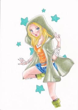 Green hooded girl